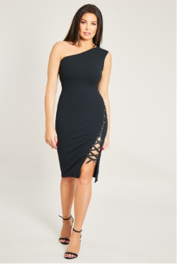 Jessica Wright Jaymie Black One Shoulder Long Sleeve Lace Up  Midi Dress