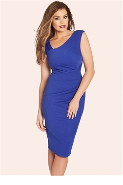 JESS WRIGHT TONI COBALT RUCHED BODYCON DRESS