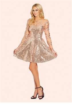 Sistaglam Esmay Rose Gold Skater Dress