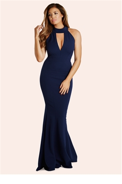 Jessica Wright Arina Navy High Neck Plunge Maxi Dress