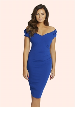 Jessica Wright Cassidy Cobalt Ruched Bodycon Dress