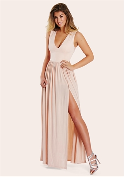 Sistaglam Laney Nude Plunge Maxi Dress