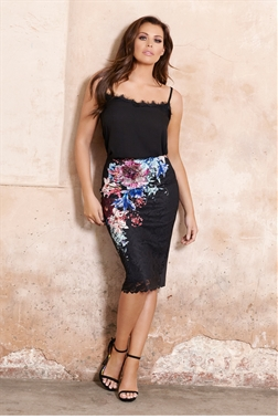 Jessica Wright Dravan Midi Floral Print Over Lace Skirt