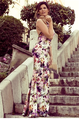 JESS WRIGHT CLARISSA FLORAL FISHTAIL MAXI DRESS