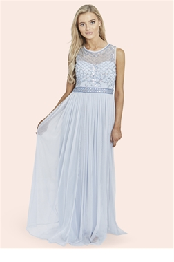 Sistaglam Afia Powder blue Embellished Maxi Dress
