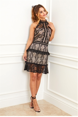 Sistaglam Sienna doll black lace high neck midi dress