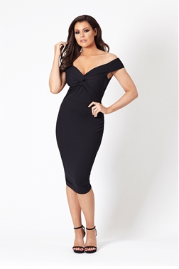 Jessica Wright Carolina bardot black bodycon dress.