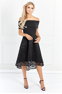 Sistaglam Janie Black Off The Shoulder Lace High Low Dress