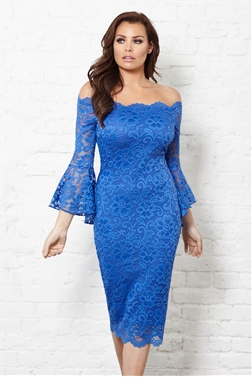 Jessica Wright Kelsea Cobalt Lace Frill Sleeve Bodycon Dress