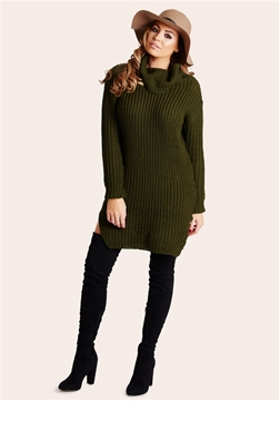 Jessica Wright Naya Khaki Knit Jumper