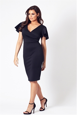 Jessica Wright Tinka black v neck bodycon dress