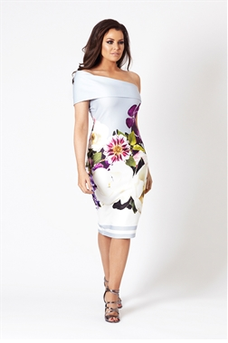 Jessica Wright Aileen Floral Multicolour Off The Shoulder Bodycon Dress