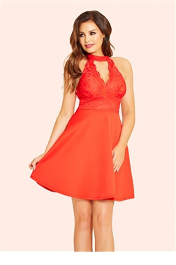 Jessica Wright Tamsin Red 2 in 1 Halterneck Skater Dress