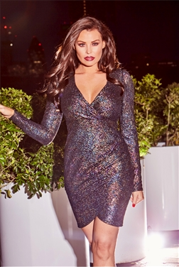 Jessica Wright Bruni Multi Textured Metallic Glitter Wrap Bodycon Dress With Shoulder Pads
