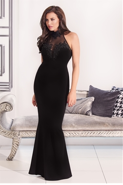 Jessica Wright Aurelia Black VIP Halter Backless Maxi Dress With Mesh And Lace Trim
