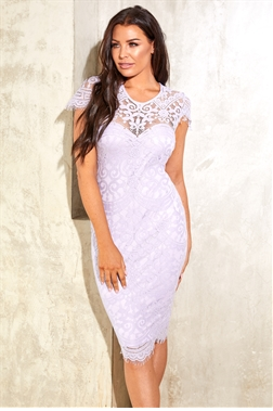 Sistaglam Loves Jessica Wright Siya lilac purple midi bodycon dress with cap sleeve scallop hem