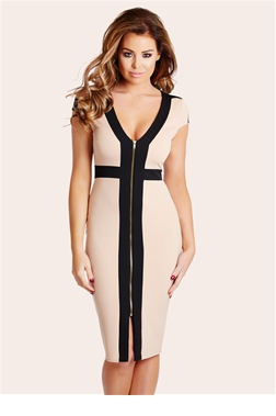 Jessica Wright Katie Bodycon Black & Nude Dress