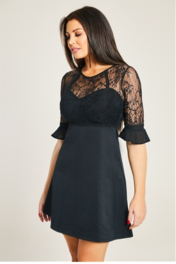 Jessica Wright Rosetta Black 2 in 1 Lace Top And Jersey Skirt Skater Dress