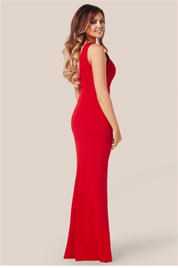 Fitted ruched maxi dress