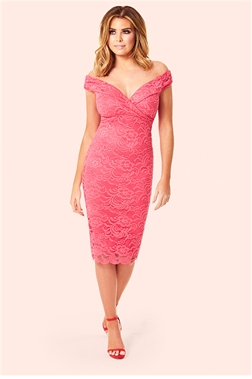 Jessica Wright Sallie Coral All Over Lace Bardot Dress