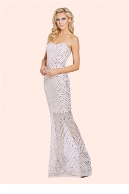 Sage Nude & Silver Sequin Bandeau Bodycon Maxi Dress  from the occasion wear and wedding collection of Sistaglam