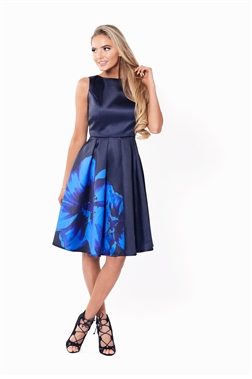 SISTAGLAM SHAY SATIN PROM DRESS WITH ENLARGED FLORAL PRINT