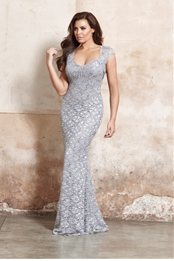 Jessica Wright fabiana grey all over lace keyhole top and fishtail styled maxi dress