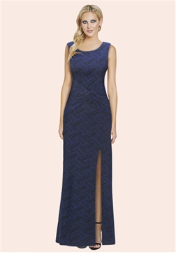Sistaglam Chantelle Blue Glitter Lurex Knot Front Maxi Dress