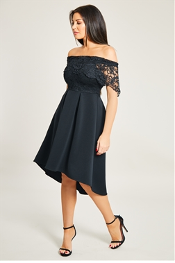 Jessica Wright Liah Black Lace Bodice Bardot High Low Skater Dress