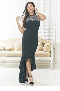 Jessica Wright Evie Black High Low Frilled Hem Insert Lace Halter Neck Bodycon Dress