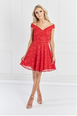 Sistaglam Misty Red Bardot Sequin Lace Prom Dress