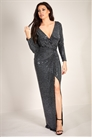 Sistaglam Loves Jessica Wright Matilda black long sleeve wrap knot glitter lurex maxi dress with slit