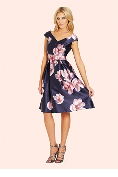 Sistaglam Rose Floral Sateen Pleated Prom Dress