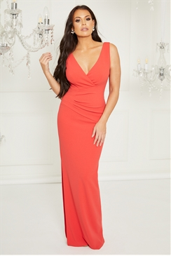 Sistaglam Loves Jessica Wright Kayleen Red maxi v neck dress with rouching Maxi dress