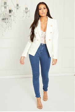 Sistaglam Loves Jessica Wright Rika cream tailored blazer jacket with gold buttons