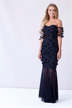 Sistaglam Dollie Black Bardot Sheer Skirt Maxi Dress