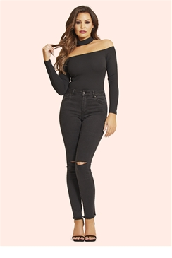 Jessica Wright Harper Black High Waisted Slit Jeans