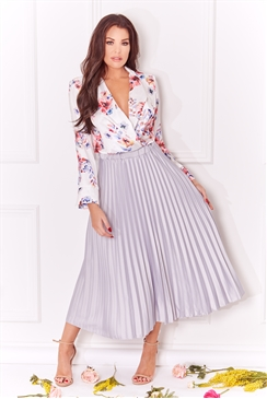 Jessica Wright Betty silver pleated midi skirt