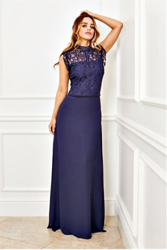 Sistaglam Pauline navy high neck lace bodice and chiffon maxi dress