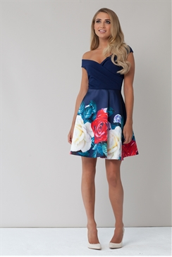 Sistaglam Zilda Navy Multicolour Floral Prom Dress