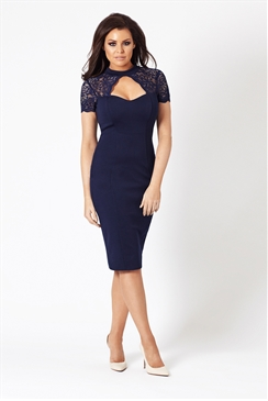 Jessica Wright Cecily Navy Lace High Neck Bodycon Dress