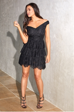 Sistaglam Loves Jessica Wright Alexi black bardot teared skater all over lace dress