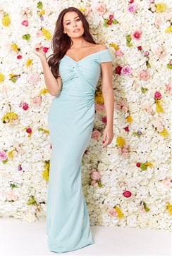 Sistaglam Loves Jessica Wright Marina green/mint bardot maxi dress with waist ruching