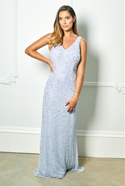 Sistaglam Special Edition Jessica Rose Lindiana light blue all over sequin maxi dress