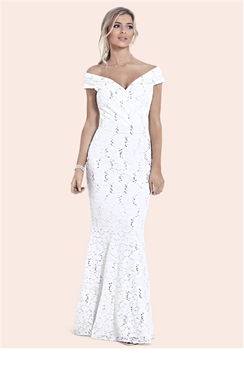 Sistaglam Elizabeth White Sequin Bardot Wedding Dress