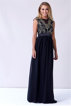 Sistaglam Christiana Black Chiffon Maxi Dress With Gold Embroidery