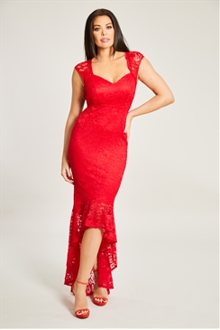 Jessica Wright Novan Red Lace Sweetheart Neckline Dipped Frill Hem Maxi Dress