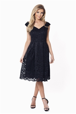Sistaglam Jadey Black Lace Bardot Dress