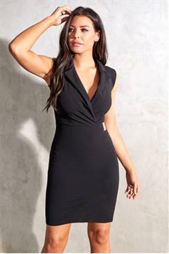 Sistaglam Loves Jessica Wright Berta black sleeveless tuxedo bodycon dress