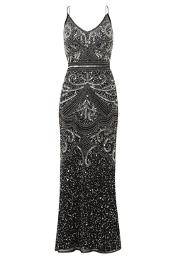Sistaglam Special Edition Jessica Rose Flory black full beaded maxi dress